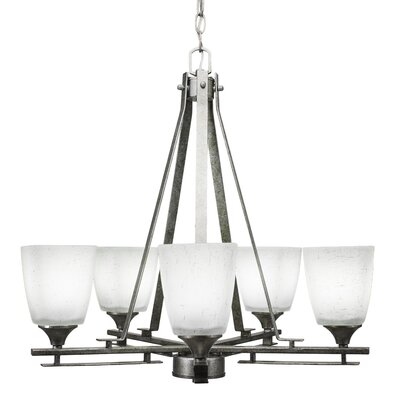 Mindi 5-Light Shaded Chandelier Finish: Aged Silver