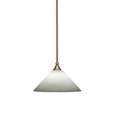 Cyprien 1-Light 100W Muslin Glass Mini Pendant Finish: New Age Brass, Size: 8 H x 12 W x 12 D