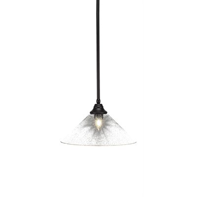 Cyprien 1-Light 150W Bubble Glass Shade Mini Pendant Finish: Espresso