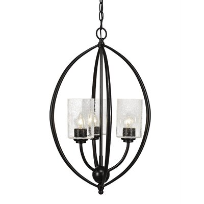 Albreda 3-Light Geometric Pendant Finish: Dark Granite, Shade Color: Clear Bubble