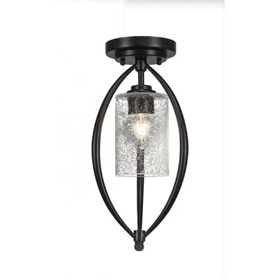Albreda 1-Light Semi Flush Mount Shade Color: Clear Bubble, Finish: Dark Granite