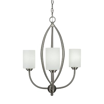 Albreda 3-Light Candle-Style Chandelier Finish: Brushed Nickel, Shade Color: White Muslin