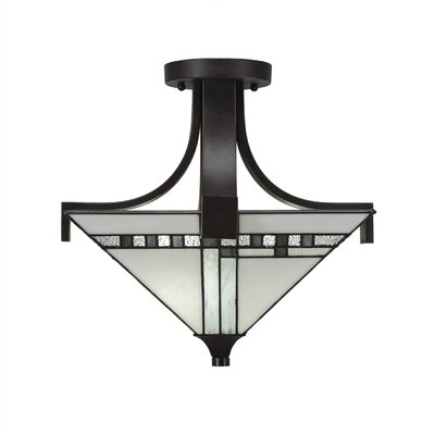 Eurig 2-Light Semi Flush Mount Fixture Finish: Dark Granite