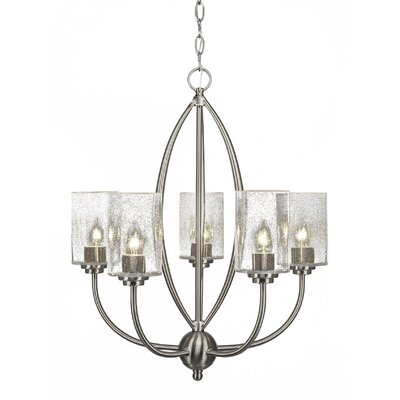 Albreda 5-Light Candle-Style Chandelier Finish: Brushed Nickel, Shade Color: Clear Bubble