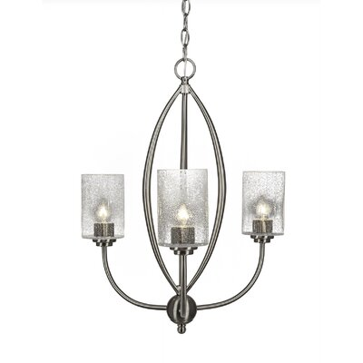 Albreda 3-Light Candle-Style Chandelier Finish: Brushed Nickel, Shade Color: Clear Bubble
