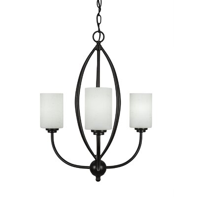 Albreda 3-Light Candle-Style Chandelier Finish: Dark Granite, Shade Color: White Muslin