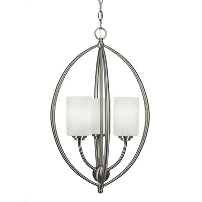 Albreda 3-Light Geometric Pendant Finish: Brushed Nickel, Shade Color: White Muslin
