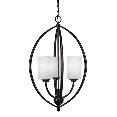 Albreda 3-Light Geometric Pendant Shade Color: White Muslin, Finish: Dark Granite