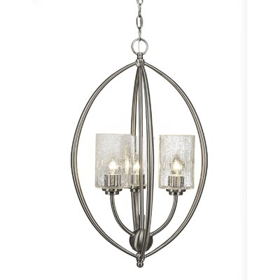 Albreda 3-Light Geometric Pendant Finish: Brushed Nickel, Shade Color: Clear Bubble