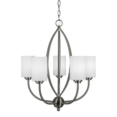 Albreda 5-Light Candle-Style Chandelier Finish: Brushed Nickel, Shade Color: White Muslin