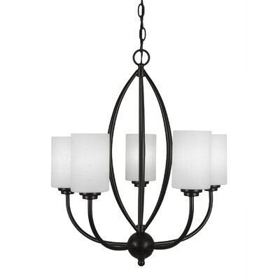 Albreda 5-Light Candle-Style Chandelier Finish: Dark Granite, Shade Color: White Muslin