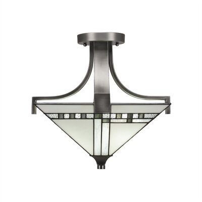 Eurig 2-Light Semi Flush Mount Fixture Finish: Graphite
