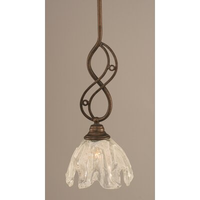 Jazz Mini Pendant With Hang Straight Swivel Finish: Bronze, Shade Color: Italian Ice Glass, Size: 7 W