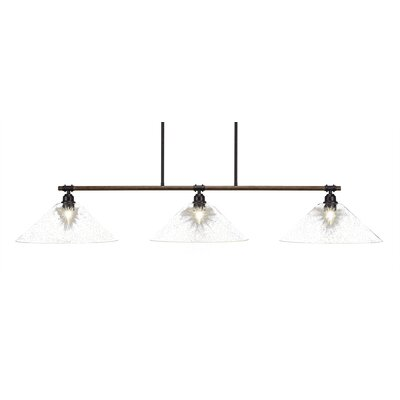 Pujari 3-Light Kitchen Island Pendant Shade Color: Clear Bubble