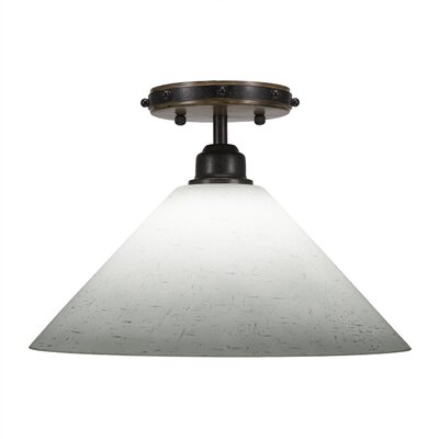 Pujari 1-Light Semi Flush Mount Shade Color: White Muslin