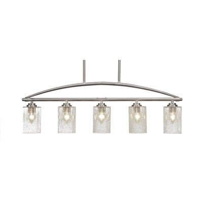 Tobin 5-Light Kitchen Island Pendant Finish: Brushed Nickel, Shade Color: Clear Bubble