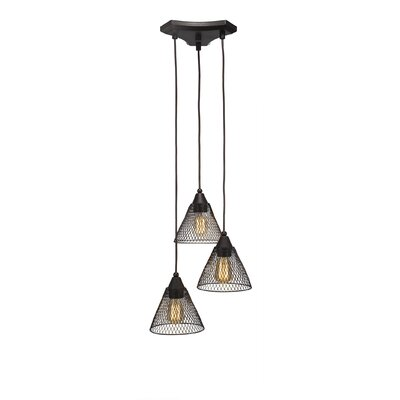 Francene Metal 3-Light Cluster Pendant Finish: Dark Granite