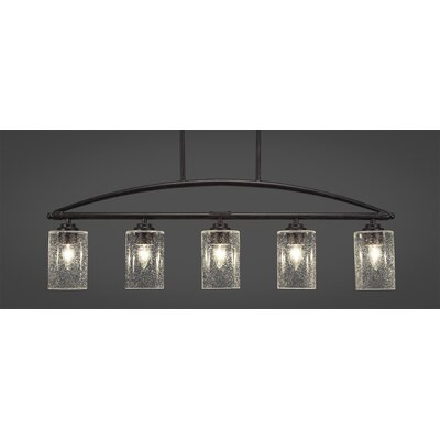 Tobin 5-Light Kitchen Island Pendant Finish: Dark Granite, Shade Color: Clear Bubble
