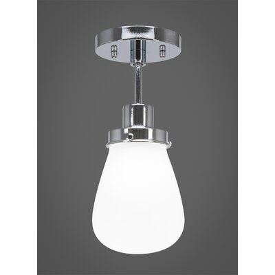 Meridian 1-Light Semi Flush Mount Fixture Finish: Chrome, Shade Color: Clear