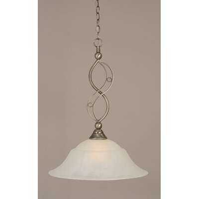 Jazz 1-Light Bowl Pendant Finish: Brushed Nickel, Shade Color: White Marble Glass, Size: 20 W