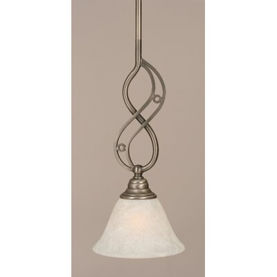 Jazz Mini Pendant With Hang Straight Swivel Finish: Brushed Nickel, Size: 7 W, Shade Color: White Marble Glass