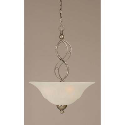 Jazz 3-Light Uplight Inverted Pendant Finish: Brushed Nickel, Shade Color: White Marble Glass
