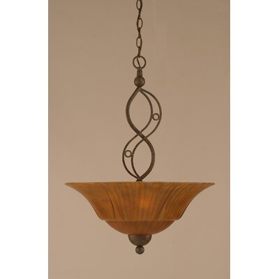 Jazz 3-Light Uplight Inverted Pendant Finish: Bronze, Shade Color: Tiger Glass