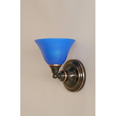 One Light Wall Sconce with Blue Italian Crystal Glass in Black Copper