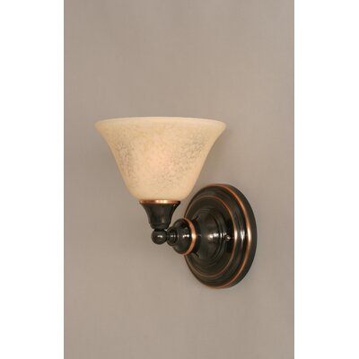 One Light Wall Sconce with Italian Marble Glass in Black Copper