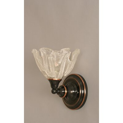 One Light Wall Sconce with Italian Ice Glass Shade in Black Copper