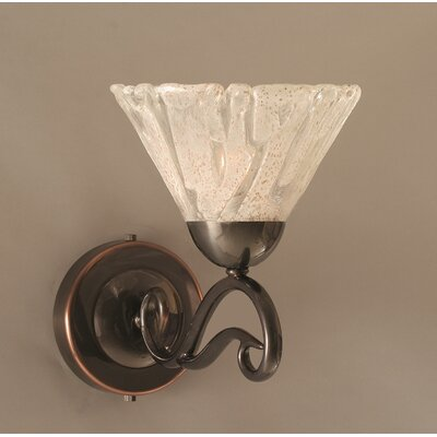 One Light Wall Sconce with Italian Ice Shade in Black Copper