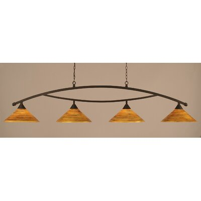 Bow 4-Light Kitchen Island Pendant Finish: Dark Granite