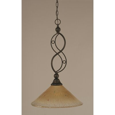Jazz 1-Light Bowl Pendant Finish: Bronze, Shade Color: Amber Crystal Glass, Size: 16 W