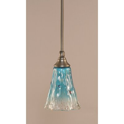 Stem 1-Light Mini Pendant Finish: Brushed Nickel, Shade Color: Teal