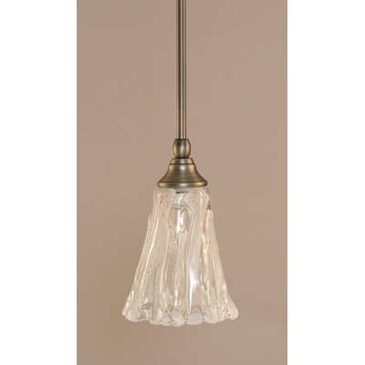 Stem 1-Light Mini Pendant Finish: Brushed Nickel, Shade Color: Italian Ice