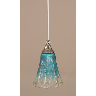 Stem 1-Light Mini Pendant Finish: Chrome, Shade Color: Teal