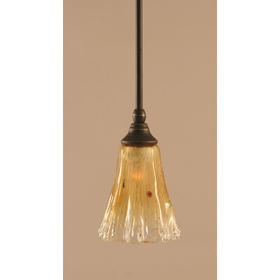 Stem 1-Light Mini Pendant Finish: Dark Granite, Shade Color: Amber