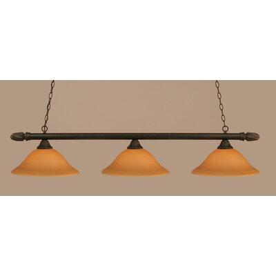 Round 3-Light Billiard Light Shade: 16 Cayenne Linen