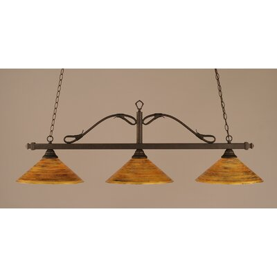 Reba 3-Light Billiard Light Color: Bronze, Shade: 16 Firr� Saturn Glass
