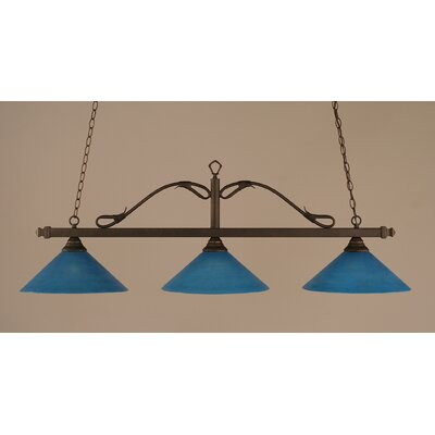 Reba 3-Light Billiard Light Finish: Bronze, Shade: 16 Blue Italian Glass