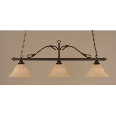 Reba 3-Light Billiard Light Finish: Bronze, Shade: 14 Italian Marble Glass