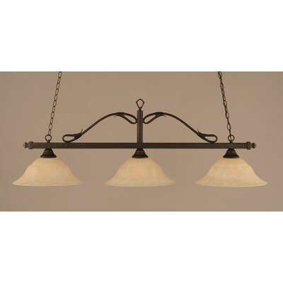 Reba 3-Light Billiard Light Color: Bronze, Shade: 16 Amber Marble Glass