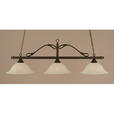 Reba 3-Light Billiard Light Color: Bronze, Shade: 16 White Marble Glass