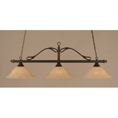 Reba 3-Light Billiard Light Color: Bronze, Shade: 16 Italian Marble Glass