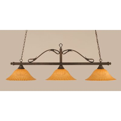 Reba 3-Light Billiard Light Color: Bronze, Shade: 16 Cayenne Linen Glass