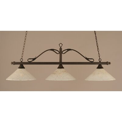 Reba 3-Light Billiard Light Finish: Bronze, Shade: 16 Gold Ice Glass