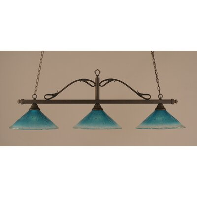 Scroll 3-Light Billiard Light Finish: Bronze, Shade: 16 Teal Crystal Glass