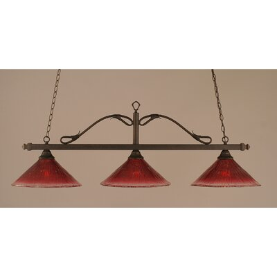 Reba 3-Light Billiard Light Color: Bronze, Shade: 16 Raspberry Crystal Glass