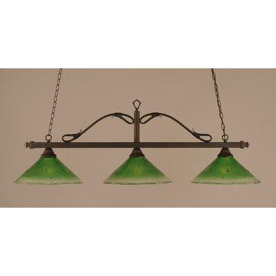 Reba 3-Light Billiard Light Color: Bronze, Shade: 16 Kiwi Green Crystal Glass