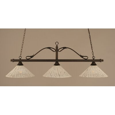 Reba 3-Light Billiard Light Color: Bronze, Shade: 16 Italian Ice Glass